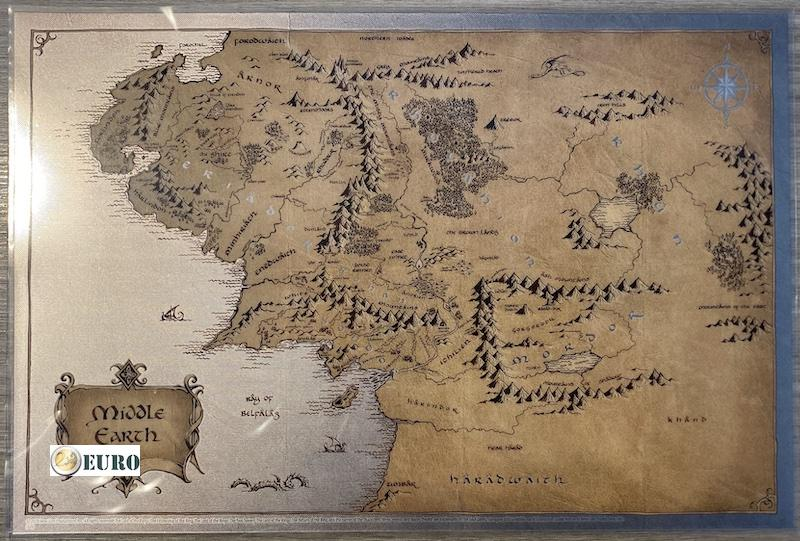 2 NZD dollar Niue 2021 - Middle-Earth map Lord of the Rings silver