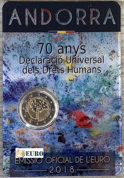 2 euro Andorra 2018 - 70 years human rights BU FDC Coincard