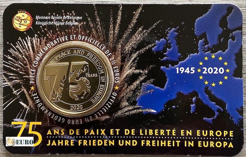 2,50 euro Belgium 2020 - 75 years peace in Europe BU FDC Coincard FR