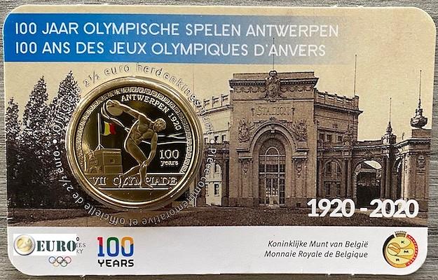 2,50 euro Belgium 2020 - Olympic Games Antwerp BU FDC Coincard Coloured