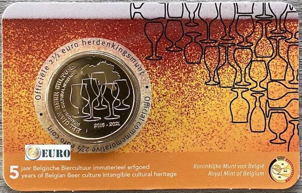 2,50 euro Belgium 2021 - Beer culture 5 years heritage BU FDC Coincard NL