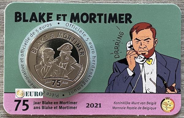 5 euro Belgium 2021 - Blake and Mortimer BU FDC Coincard Embossed