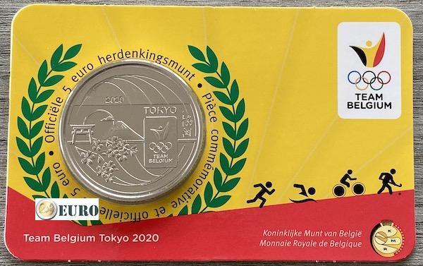 5 euro Belgium 2021 - Team Belgium Tokyo BU FDC Coincard Embossed