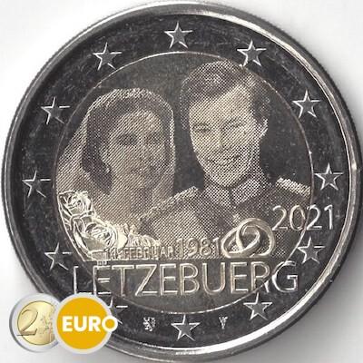 2 euro Luxembourg 2021 - 40 years wedding Henri UNC Photo