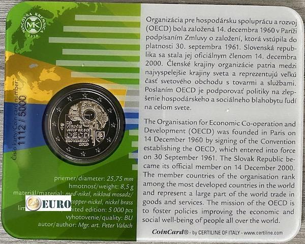 2 euro Slovakia 2020 - Accession to the OECD BU FDC Coincard