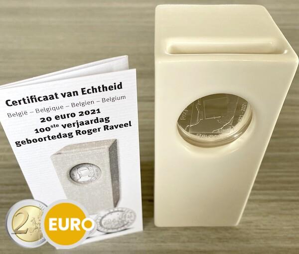 20 euro Belgium 2021 - Raveel BE Proof Silver ceramic