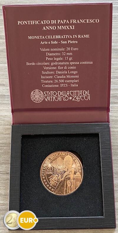 20 euro Vatican 2021 - Saint Peter UNC copper