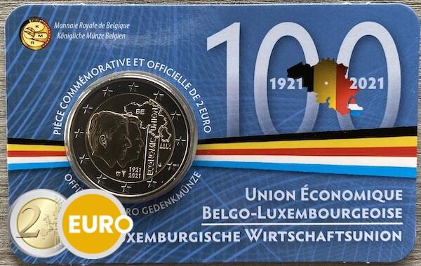 2 euro Belgium 2021 - 100 years BLEU BU FDC Coincard FR