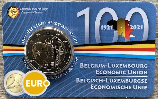 2 euro Belgium 2021 - 100 years BLEU BU FDC Coincard NL